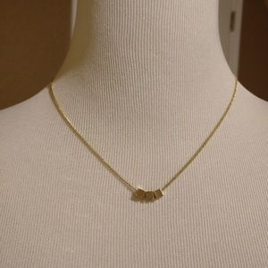 Express gold geometric cube necklace 3D dainty